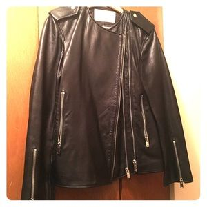 Black Leather Zara Zipper-detail Jacket